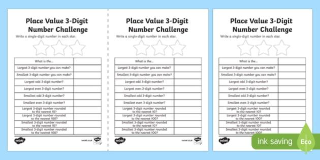 place value 3 digit number challenge worksheet activity sheet scottish. Black Bedroom Furniture Sets. Home Design Ideas