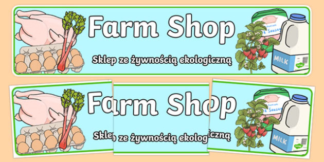 Farm Shop Banner Alt Polish Translation - polish, Farm Shop Role Play, banner, farm shop resources, farm, milk, cheese, eggs, till, animals, meat, cheese, living things, butcher, role play, display, poster