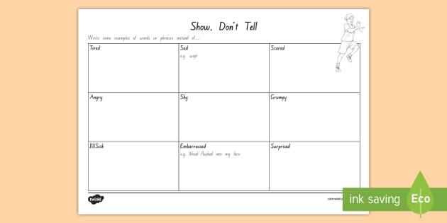 Show, Don't Tell Grid Worksheet / Activity Sheet - worksheet