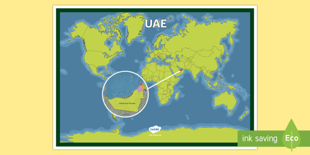 UAE On a World Map - UAE, ADEC, MOE, map, uae, gulf, gcc, middle