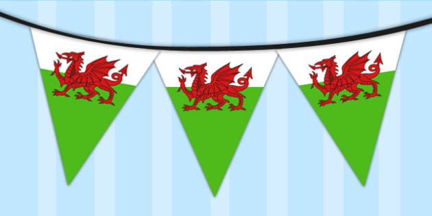Wales Flag Bunting - wales, flag, bunting, display, welsh flag