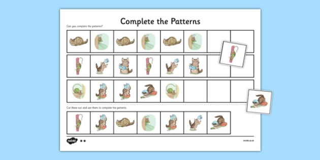 Beatrix Potter - The Story of Miss Moppet Complete the Pattern Worksheets - beatrix potter, miss moppet