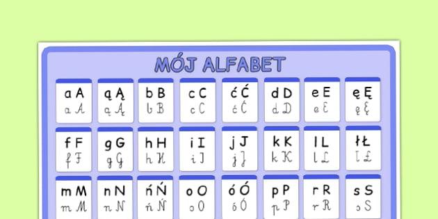 Plakat Alfabet A do Z po polsku - przedszkole, litery