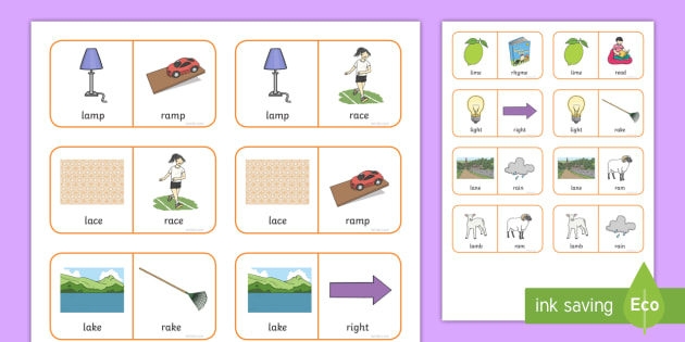 'r' and 'l' Minimal Pair Dominoes - minimal pairs, gliding, liquids, phonology, speech sounds, articulation