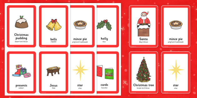 Christmas Pairs Matching Game Romanian Translation - comparison, fun, activity, festive, ks1, early years,