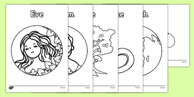 Adam and Eve Creation Story Colouring Sheets - Adam, Eve, Eden, serpent, fruit, earth, garden, creation, creation story, colouring, fine motor skills, poster, worksheet, vines, A4, display, paradise, sea creatures, birds, stars, moon, sun, tree, evil
