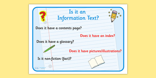 Text Types 'Is It An Information Text' Display Poster - information texts, information texts poster, is it an information text poster, text types poster