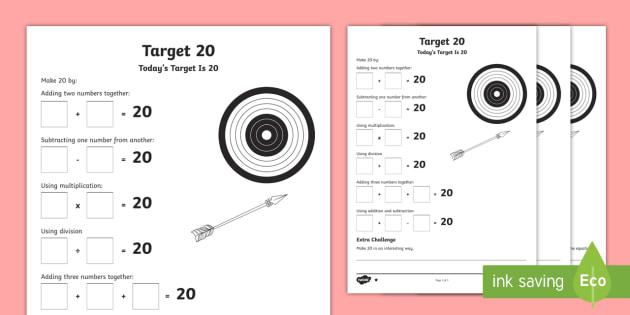 100 Days Of School Target 100 Maths Differentiated Worksheet