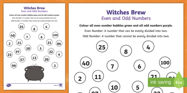 Even and Odd Numbers Witches Brew Activity