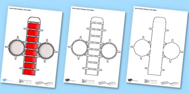 Life Object 3D Shapes Drum Cylinder Paper Model - drums, craft, crafts, shape