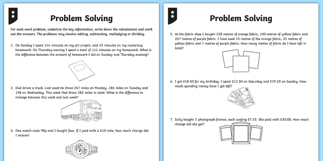 Maths Worksheets Problem solving Free | Homeshealth.info