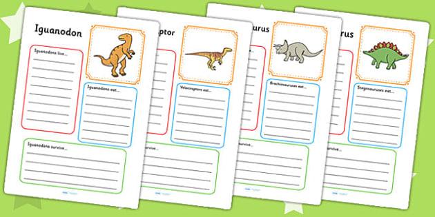 Dinosaur Fact File Worksheet / Activity Sheets - dinosaurs, fact file, visual aid