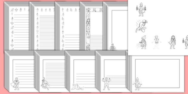 Editable Superhero Black and White Page Borders Pack - superhero