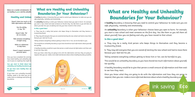 What Are Healthy and Unhealthy Boundaries? Worksheet - young ...