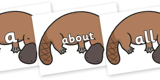 100 High Frequency Words on Platypus - High frequency words, hfw, DfES Letters and Sounds, Letters and Sounds, display words
