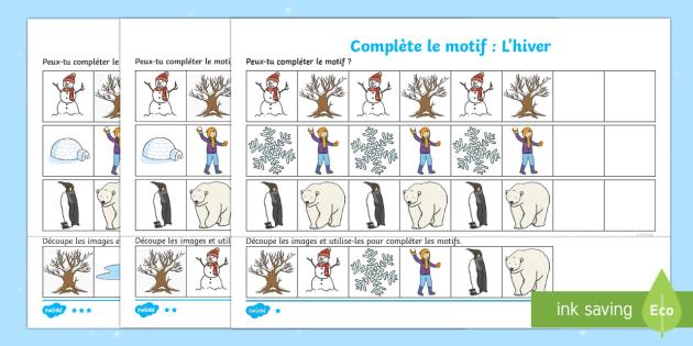 Feuille d'activités : Motifs à compléter - L'hiver-French - Hiver, winter,motifs, séquences, pattern, sequence, compléter, terminer, complete ,French