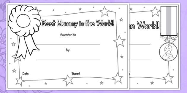 Mothers Day Certificates Colouring - awards, rewards, colour