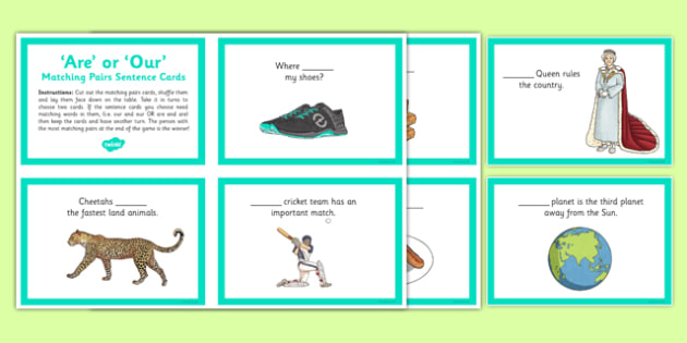 Are or Our Matching Pairs Sentence Cards - are, our, homophones, commonly-confused keywords