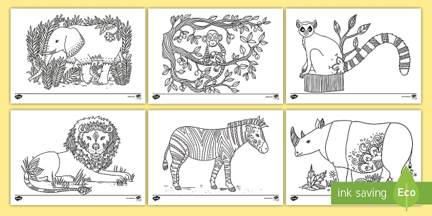 Africa Mindfulness Colouring Pages - african, animals, mindfulness