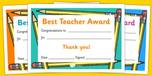 Best Teacher Award Certificate - reward, thank you, teachers, end of year, end of term