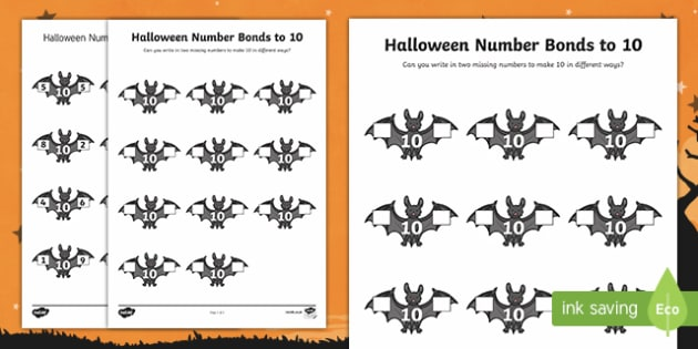 Halloween Themed Number bonds to 10 Activity Sheet