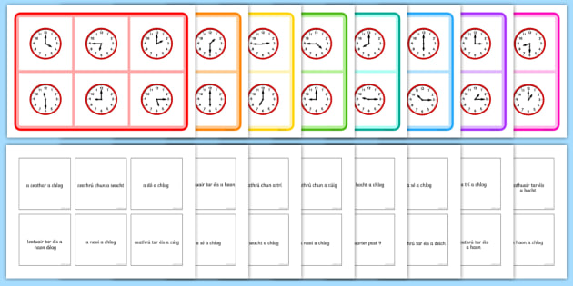 Mixed Time Bingo-Irish - Requests - ROI, Gaeilge, Irish, Time, Am, an t-am, clog, clocks, bingo,Irish