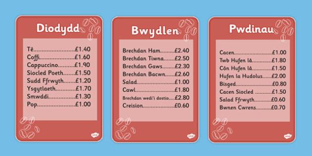 Bwydlenni Caffi - roleplay, wales, welsh, cymraeg, bwydlenni caffi