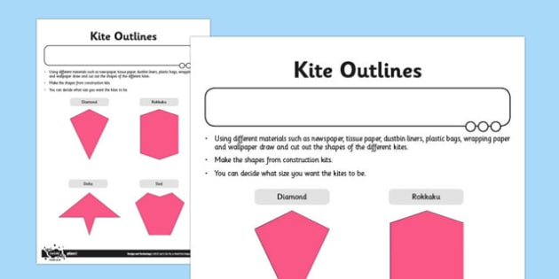 Let's Go Fly a Kite Activity Sheet Kite Outlines - fly, kite, outlines, worksheet