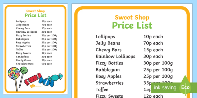 Sweet Shop Role Play Price List Poster Sweet Shop Role Play