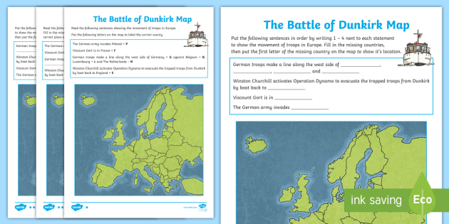 The battle of dunkirk map worksheet activity sheet dunkirk the battle of dunkirk map worksheet activity sheet dunkirk spirit winston churchill gumiabroncs Choice Image