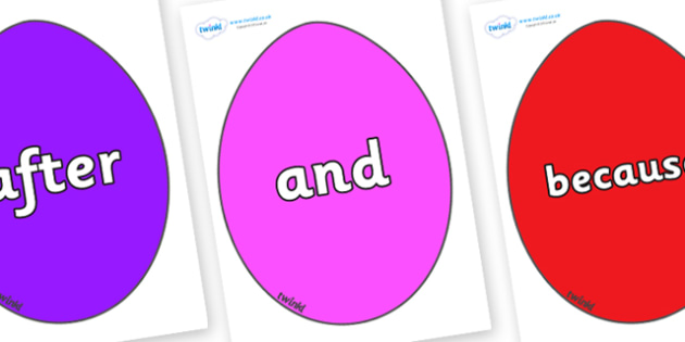 Connectives on Easter Eggs (Coloured) - Connectives, VCOP, connective resources, connectives display words, connective displays