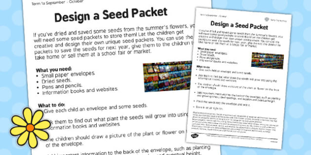 Design a Seed Packet Worksheet - design, seed, packet, worksheet