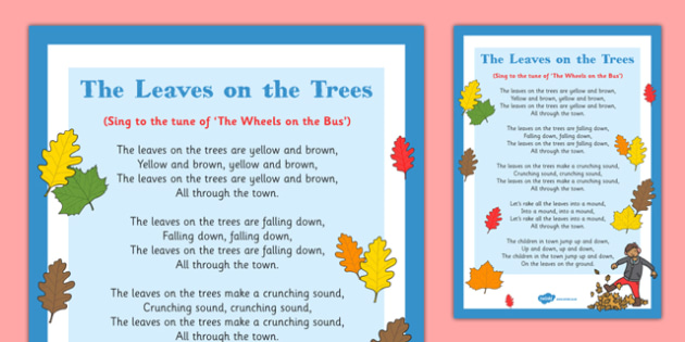 The Leaves on the Trees Rhyme - rhyme, autumn, leaves, trees, eyfs, early years