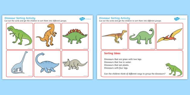 Dinosaur Sorting Activity - dinosaur, sorting, activity, sorting activity, dinosaur activity, different dinosaurs, groups activity, groups of dinosaurs