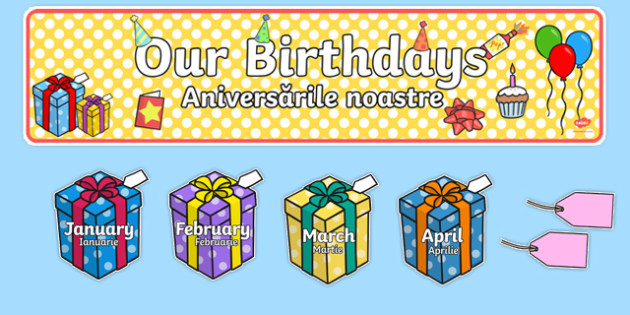 Editable Birthday Display Set (Presents) Romanian Translation-Romanian-translation