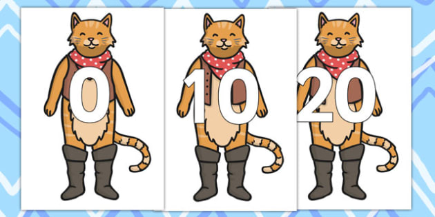 0 20 on Puss in Boots - story books, stories, numbers, counting aid