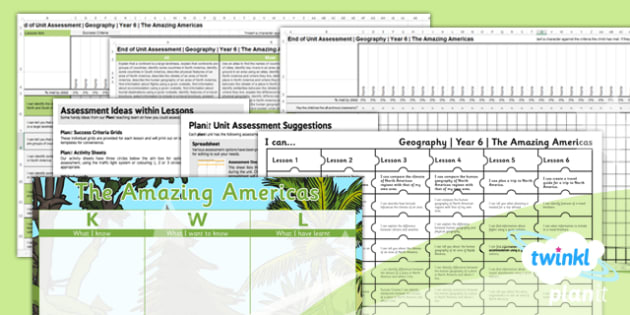 Geography: The Amazing Americas Year 6 Unit Assessment Pack