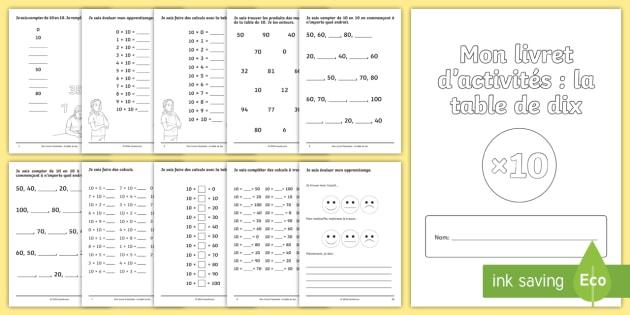 NEW * Livret d\'activités : La table de 10 - Calculs