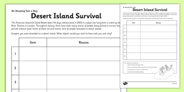 Desert Island Survival Worksheet - Learning Resource - Twinkl