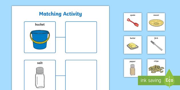 EAL Matching Pairs Cut and Stick Worksheet / Activity Sheet