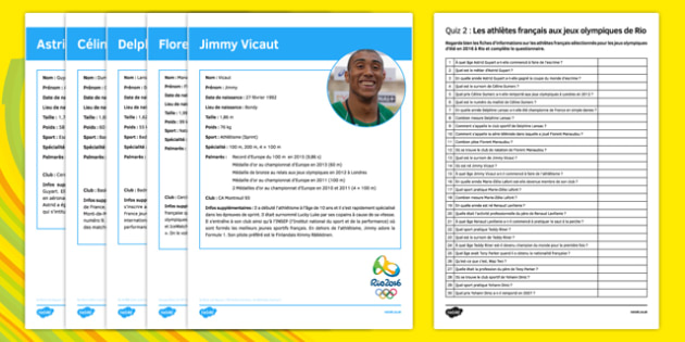 French Olympic Athletes Quiz 2 Activity Sheet - French, worksheet