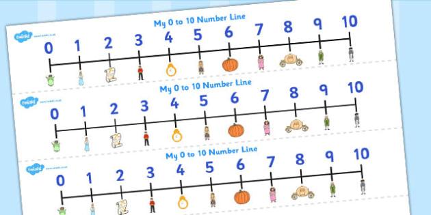 Cinderella Number Lines 0-10 - cinderella, number lines, 0-10