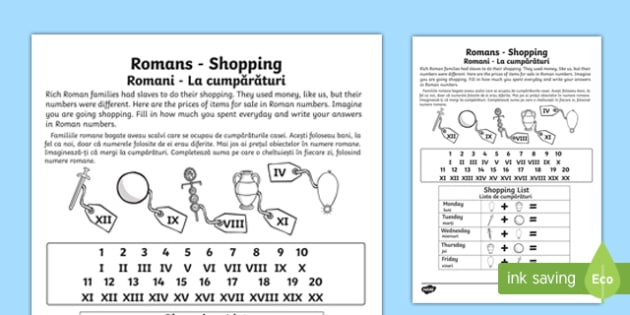 Roman Shopping Worksheet English/Romanian