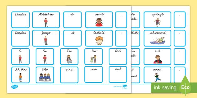 Satzbildungskarten Arbeitsblatt zum Satzbau: Wörtersalat
