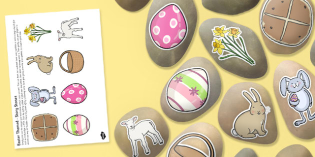 Easter Themed Story Stone Image Cut Outs - Story stones, stone art, painted rocks, storytelling, celebration, festival, pattern, colour