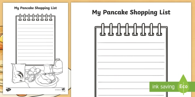 shopping lists templates