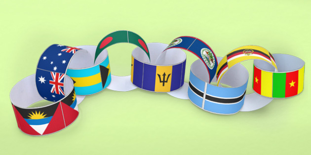 Commonwealth Flag Paper Chain - commonwealth games, flags, crafts