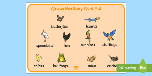 Story Word Mat Images to Support Teaching on Handa's Hen - image, pictures, picture