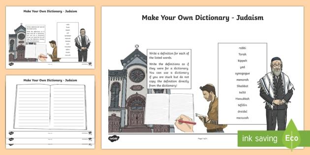 Make Your Own Dictionary - Judaism Activity Sheet - CfE Literacy, dictionary, alphabetical order, Judaism, jewish, religion, worksheet, vocabulary,Scott