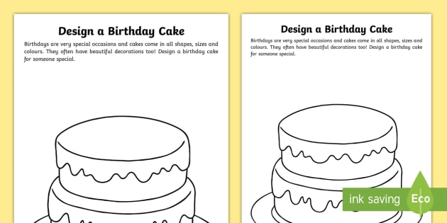 photograph relating to Worksheet Design referred to as Style a Birthday Cake Worksheet - layout a cake, birthday
